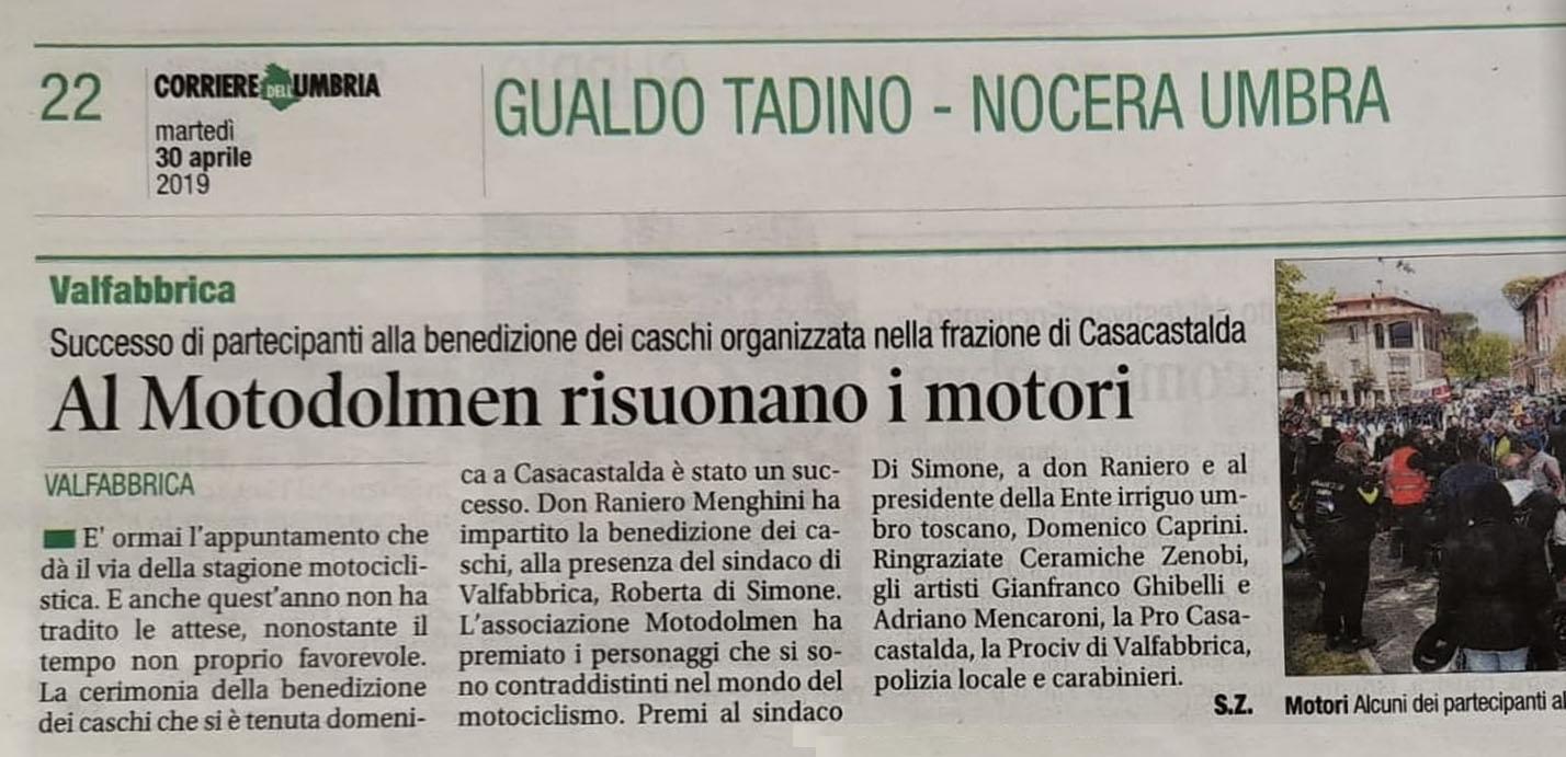 Articolo quotidiano Benedizione dei Caschi al MotoDolmen
