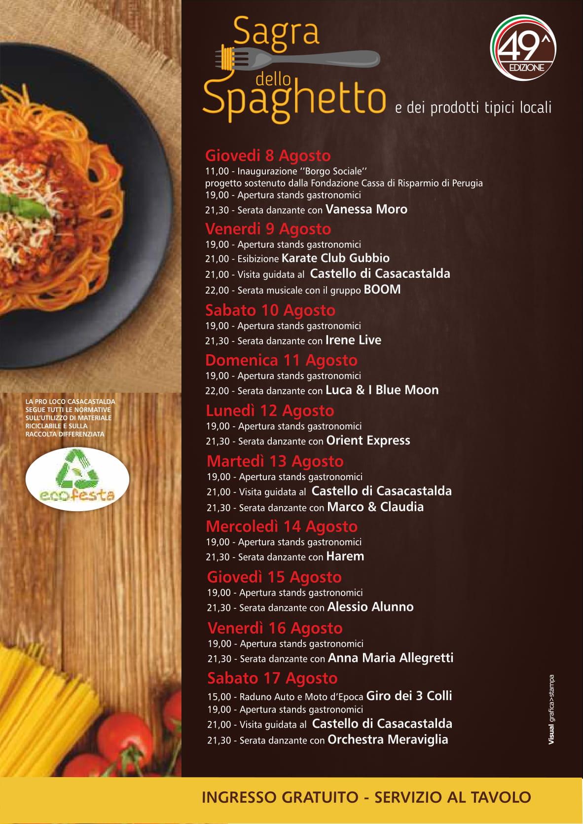 Programma Sagra dello Spaghetto di Casacastalda 2019 49ma Edizione