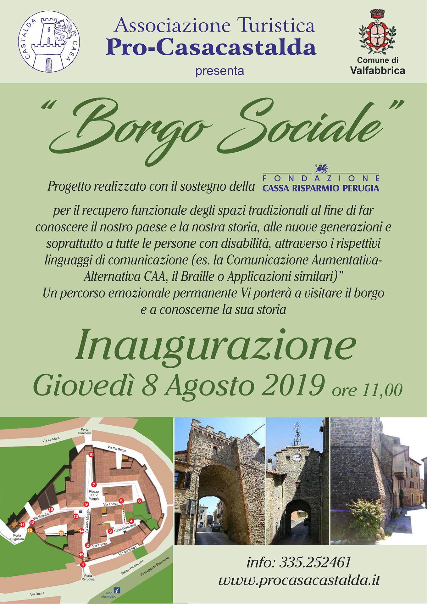 Locandina del Borgo Sociale, inaugurazione dell'8 Agosto 2019